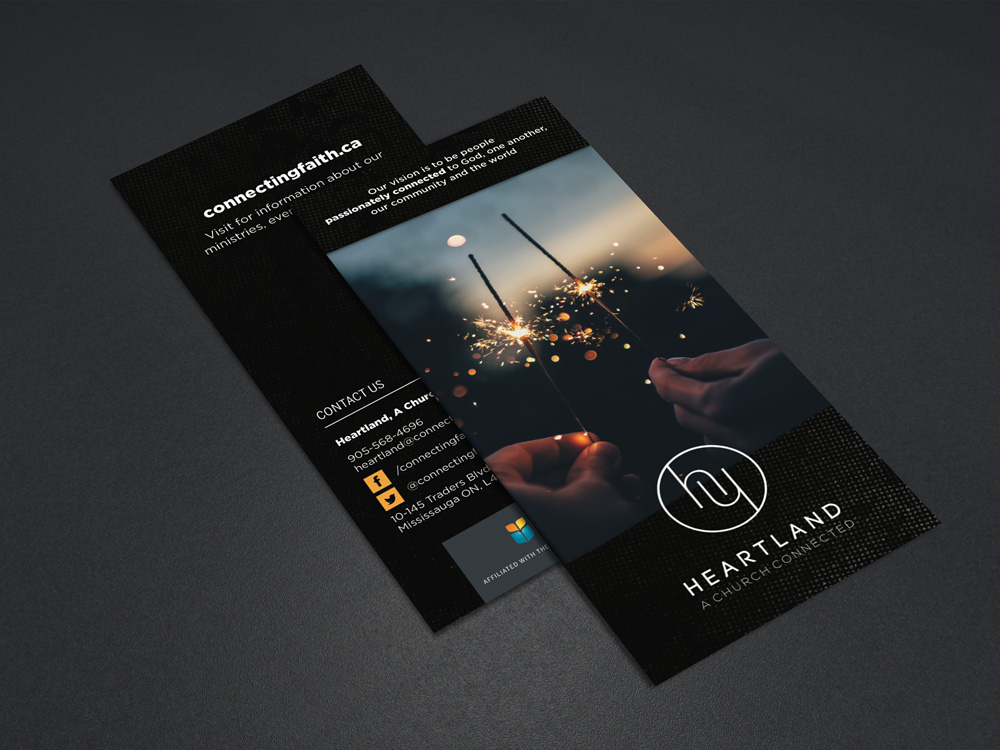 A brochure for Heartland, A Church Connected, by Kathy Jimenez, Graphic Designer
